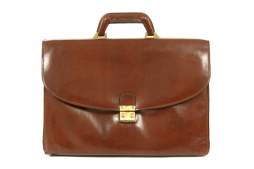 Old worn brown leather briefcase
