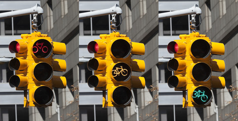 Bicycle lights on the crossroad in New York City