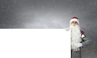 Santa with banner