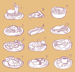 International food sketch icon collection set, create by vector