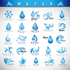 Water And Drop Icons Set - Isolated On Gray Background