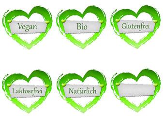 Herz mit Schild - Bio, Vegan, Bio, Laktosefrei, Glutenfrei