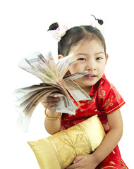Happy Chinese new year .Cute Asian Girl In Tradition Chinese