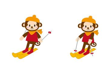 スキーをする猿