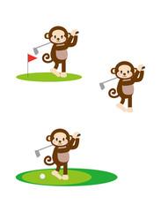 ゴルフをする猿