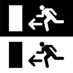 Emergency fire exit door and exit door vector