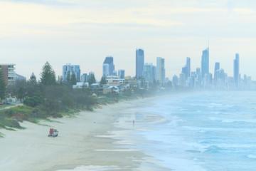 Modern Australian city along the coast view from Burleigh Heads