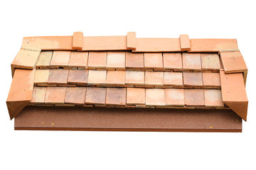roof clay tile isolated on white background