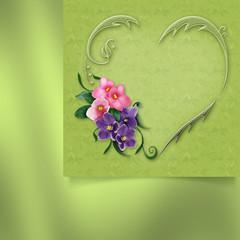 фон с сердцем из листьев с фиалками