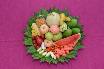 Many different fresh fruits