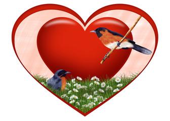 красное сердце с птичками