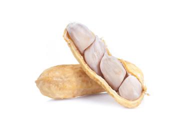 Closeup of boil peanut thai style on white background
