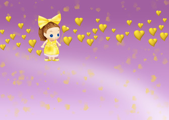 куколка в желтом платье и желтыми сердцами