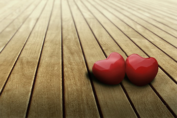 hearts in love on table