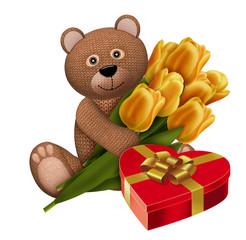 вязаный мишка с тюльпанами и подарком