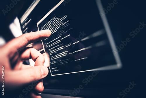 Leinwandbild Motiv Working Programmer