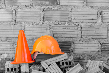 construction helmet safety and cone in construction site with br