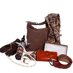 Женские осенний кожаные коричневые аксессуары