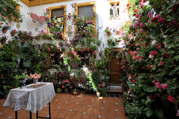 courtyard decorated with flowers, Cordoba, Spain