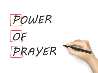 Power Of Prayer written by hand