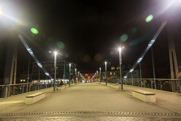 Metal bridge in Bamberg at night