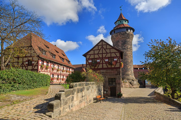 Nuremberg Castle (Sinwell tower) with blue sky and clouds