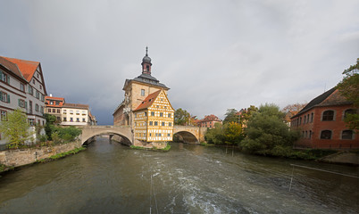 Obere bridge (brücke) and Altes Rathaus and cloudy sky in Bambe