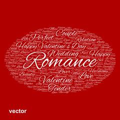 Vector conceptual Love or Valentine word cloud