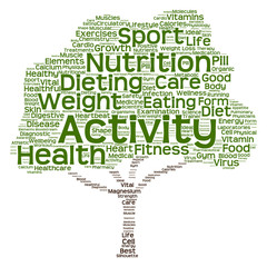 Conceptual health or diet tree word cloud