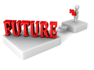 white 3d man jigsaw bridge to red FUTURE word