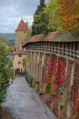 Rothenburg on Tauber castle wall and tower