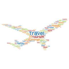 Conceptual travel or tourism plane word cloud