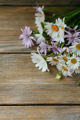 Beautiful daisies on a wooden background