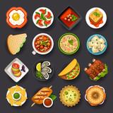 Fototapety dishes icon set-2