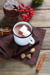 Cocoa with marshmallows in the iron cup