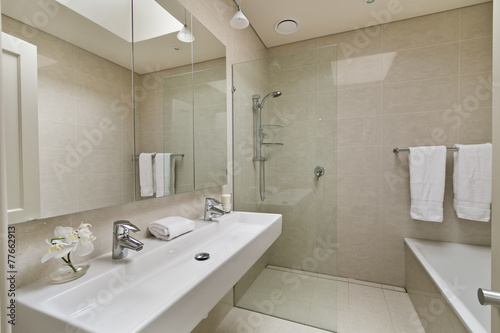 modern bathroom in luxury apartment - 77662913