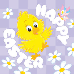 Easter card with a little yellow chick