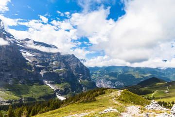 View on the hiking path near Eiger