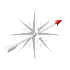 Compass rose with metal arrow