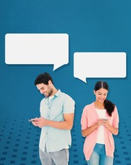 Composite image of happy couple sending text messages