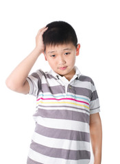 Boy having a headache holding his head with his hand, isolated