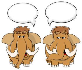 zwei Cartoon Mammuts reden miteinander