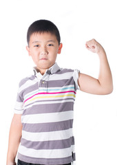 Strong Asian boy  showing off his biceps flexing muscles