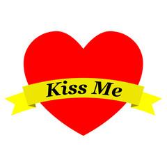 Corazon con cinta Kiss Me