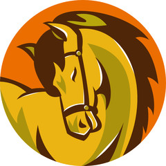 Horse Stallion Head Circle Retro