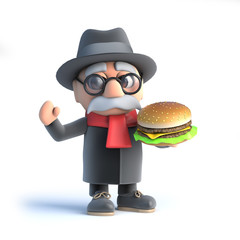 3d Grandpa has a burger