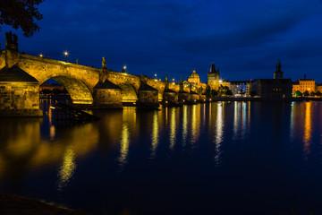 Night view of Charles Bridge and Vltava