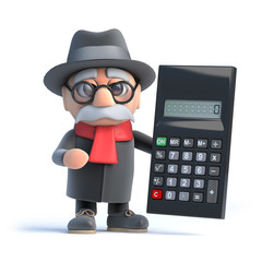 3d Granpa holding a calculator