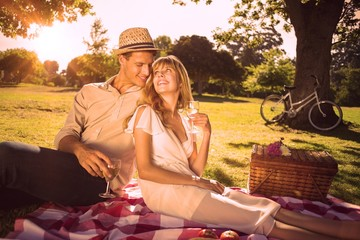 Cute couple drinking white wine on a picnic