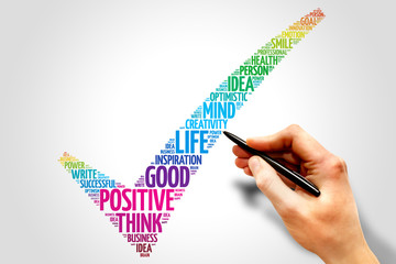 Positive thinking check mark word cloud, business concept